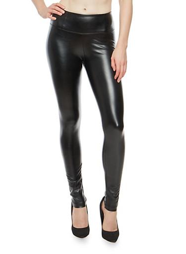 Faux Leather Leggings,BLACK,large