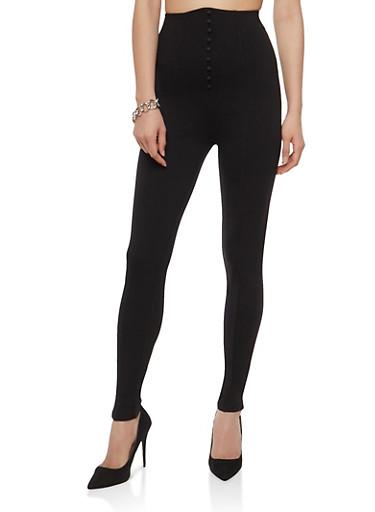 High Waisted Tuxedo Ponte Pants,BLACK,large