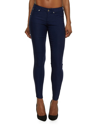 Push Up Skinny Pants in Solid,NAVY,large