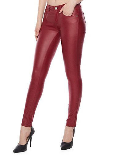 Coated Skinny Pants with Push Up Design,BURGUNDY,large