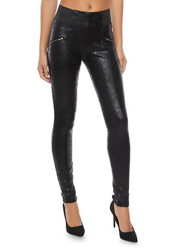 Coated Leggings with Zipper Accents,BLACK,large