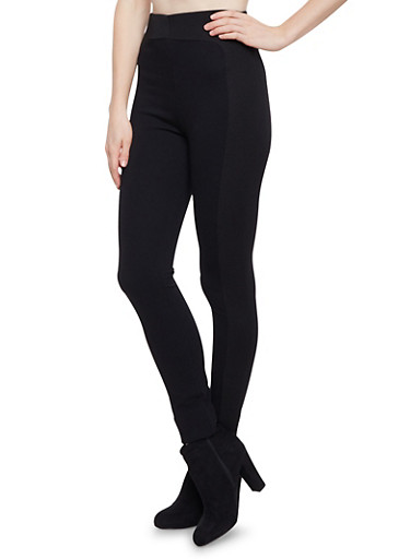 High Waisted Leggings with Waffle Knit Panels,BLACK,large