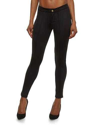 Skinny Pants with Stitched Panels,BLACK,large
