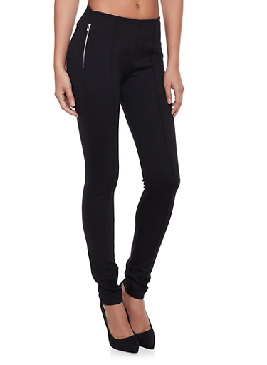 Pants with Zip and Dart Accents,BLACK,large