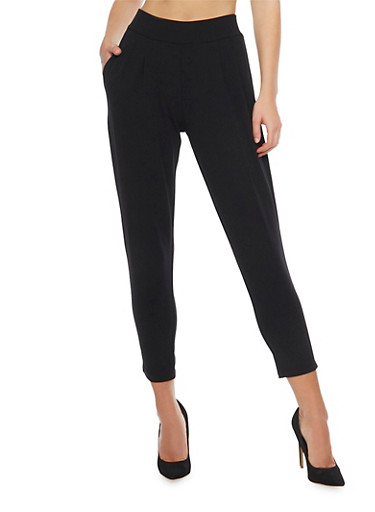 Shinestar Cropped Mid Rise Pleated Dress Pants,BLACK,large