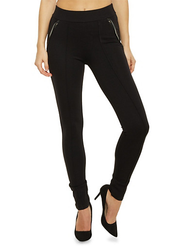 Skinny Pants with Leather Trim Pockets,BLACK,large