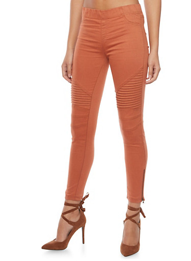 Ankle Zipper Twill Moto Pants,COPPER,large