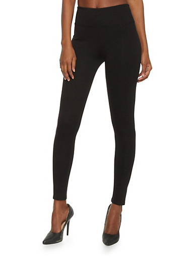 Tummy Tuck Soft Knit Ponte Leggings,BLACK,large