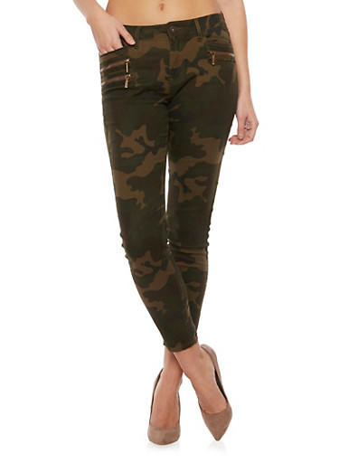 Camo Skinny Jeans with Zipper Trim,OLIVE,large