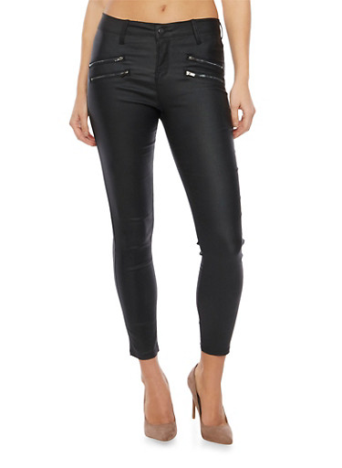 Coated Skinny Jeans with Zipper Trim,BLACK,large