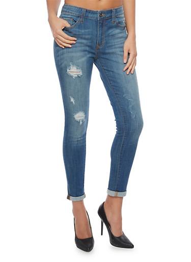 Frayed 5 Pocket Skinny Jeans,DARK WASH,large