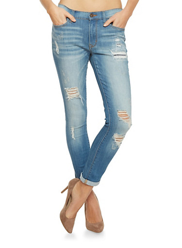 Distressed Skinny Jeans with Rolled Cuffs,MEDIUM WASH,large