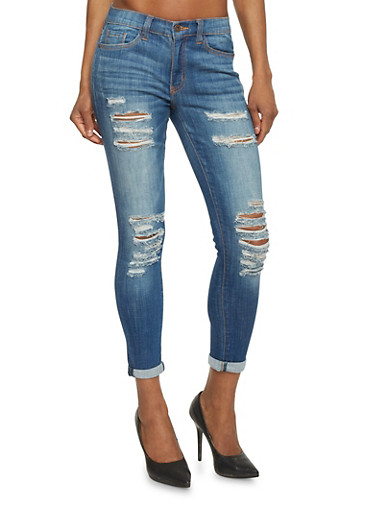 Low Rise Destroyed Cropped Skinny Jeans,DARK WASH,large