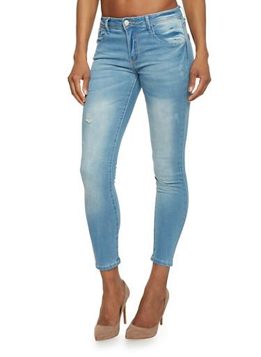 Whisker Wash Cropped Skinny Jeans,LIGHT WASH,large