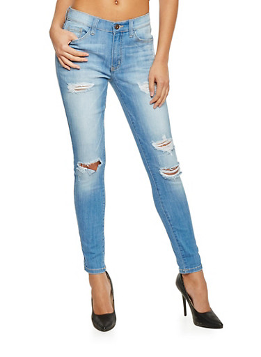 Ripped 5 Pocket Skinny Jeans,MEDIUM WASH,large