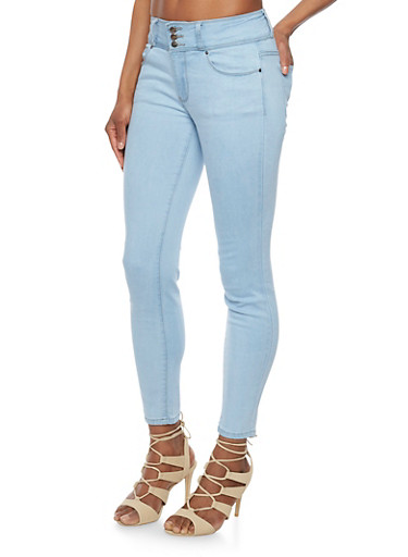 3 Button Classic Cropped Skinny Jeans,LIGHT WASH,large