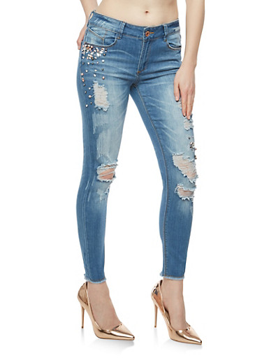 Faux Pearl and Rhinestone Studded Distressed Jeans,MEDIUM WASH,large