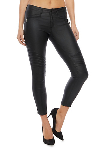 Coated Skinny Jeans with Moto Paneling,BLACK,large