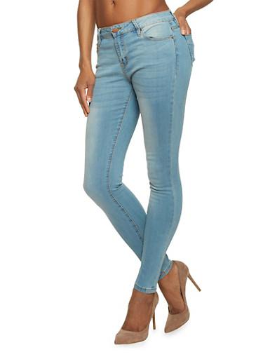 Basic Medium Wash Skinny Jeans,MEDIUM WASH,large