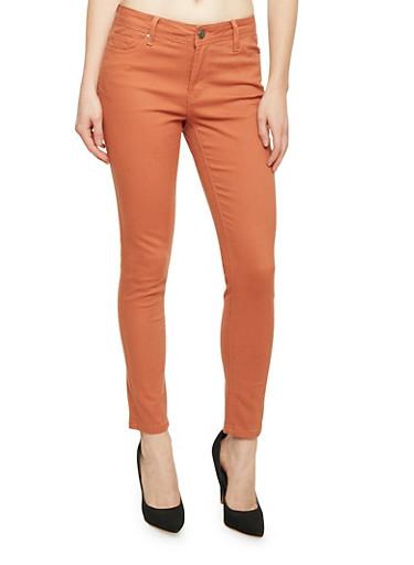 Skinny Jeans with 5 Pocket Design,LIGHT BROWN,large