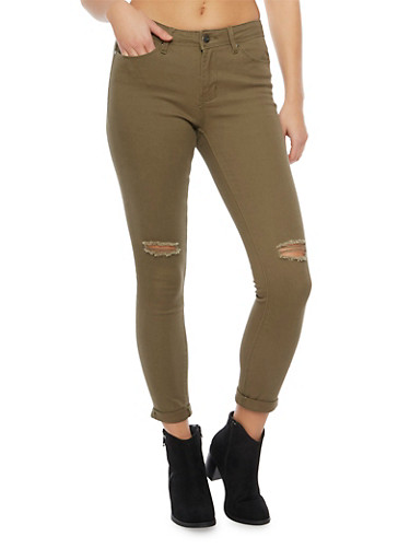 Skinny Jeans with Ripped Knees,OLIVE,large