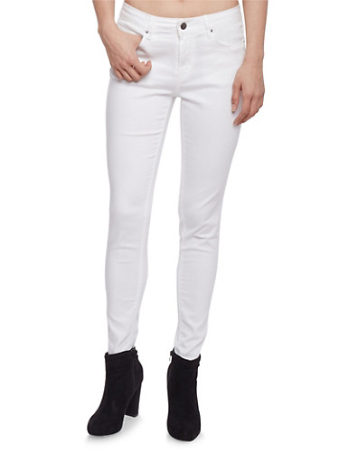Colored Skinny Jeans,WHITE,large