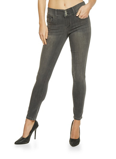 Highway 3 Button High Waisted Skinny Jeans,GREY,large