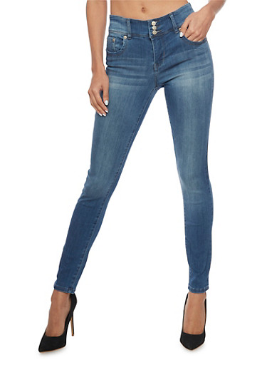 Highway Skinny Jeans with 3 Button High Waist,MEDIUM WASH,large