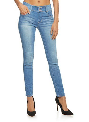 Highway 3 Button High Wasited Skinny Jeans,LIGHT WASH,large