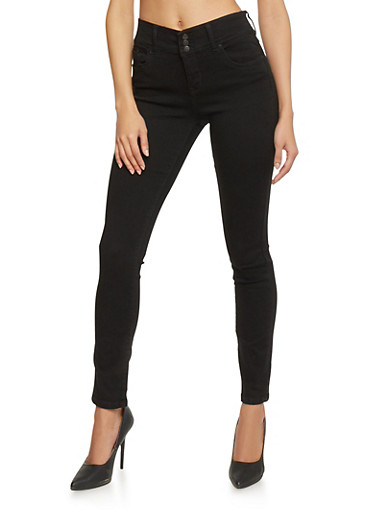 Highway Classic High Waisted 3 Button Closure Skinny Jeans,JET BLACK,large