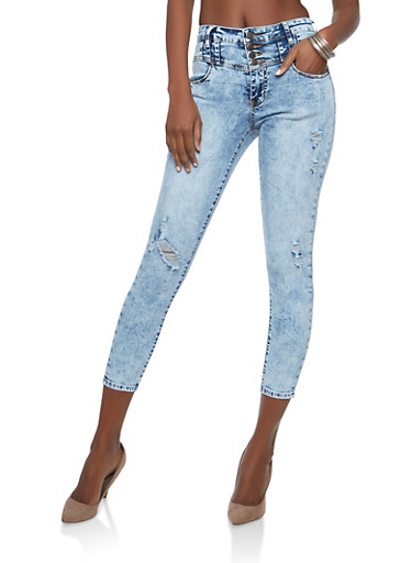 Highway High Waisted Acid Wash Jeans,ACID,large