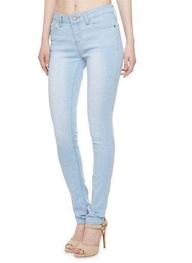 Wax Brand Faded Skinny Jeans with Five Pockets