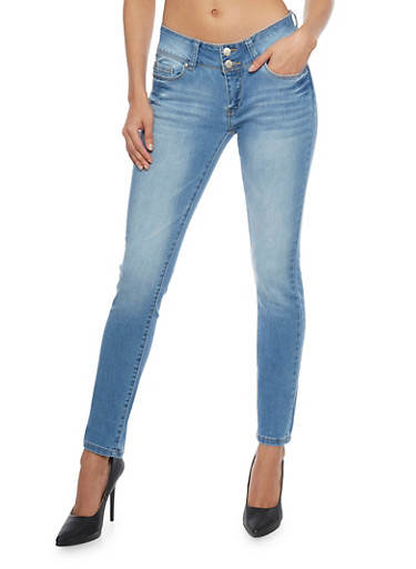 WAX Whisker Wash Two Button Skinny Jeans,LIGHT WASH,large