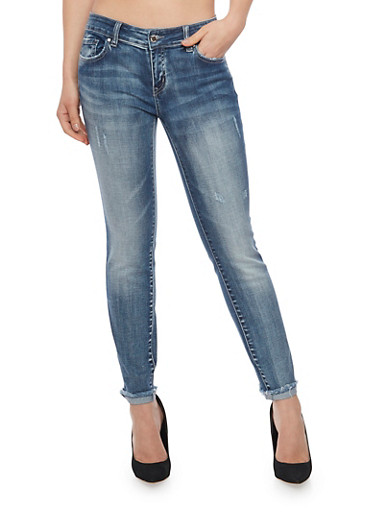 WAX Fringed Cuffs Skinny Jeans,LIGHT WASH,large