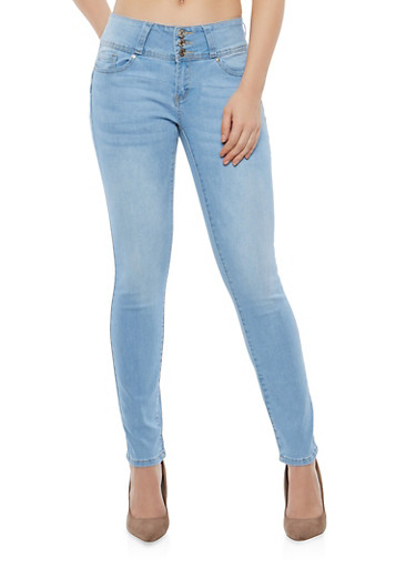 WAX Whiskered High Waisted Push Up Skinny Jeans,LIGHT WASH,large