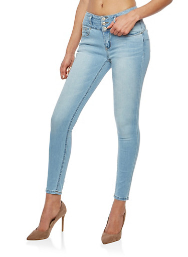 WAX 3 Button Push Up Skinny Jeans,LIGHT WASH,large