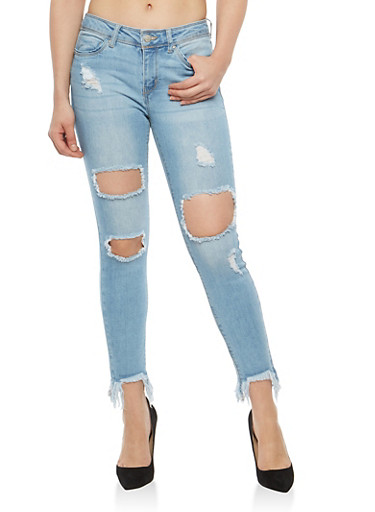 WAX Frayed Hem Destruction Jeans,LIGHT WASH,large