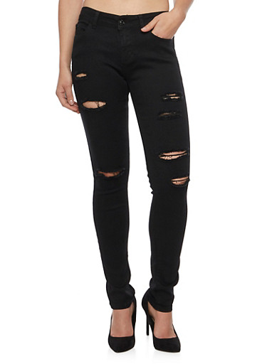 WAX Distressed Skinny Jeans,BLACK,large