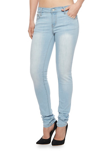 WAX Push Up Skinny Jeans,LIGHT WASH,large