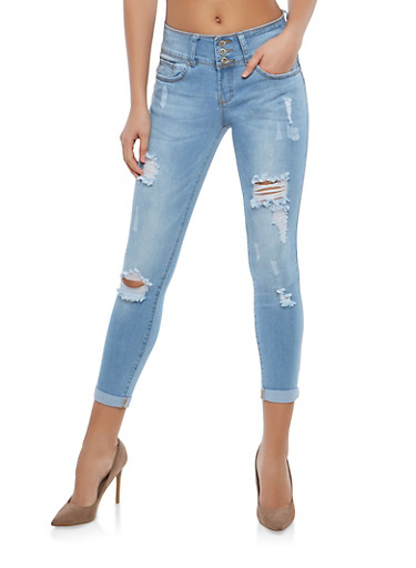 WAX Push Up Distressed Skinny Jeans,LIGHT WASH,large