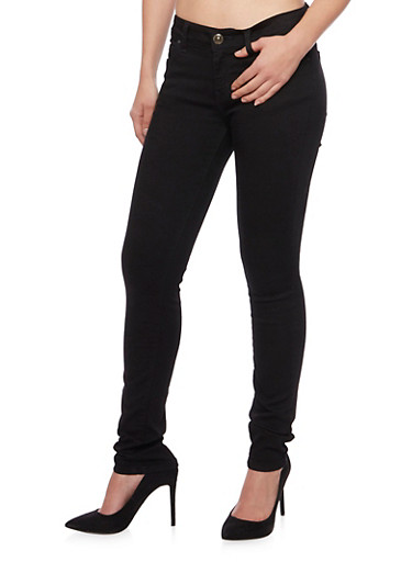 WAX Traditional 5 Pocket Skinny Jeans,BLACK,large
