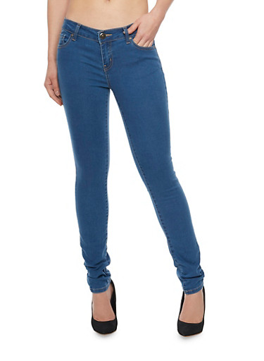 WAX Traditional 5 Pocket Skinny Jeans,MEDIUM WASH,large