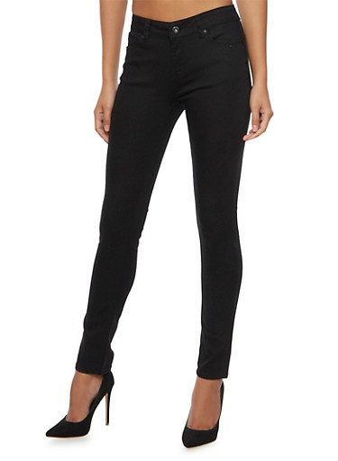 WAX Skinny Jeans in Solid,BLACK,large