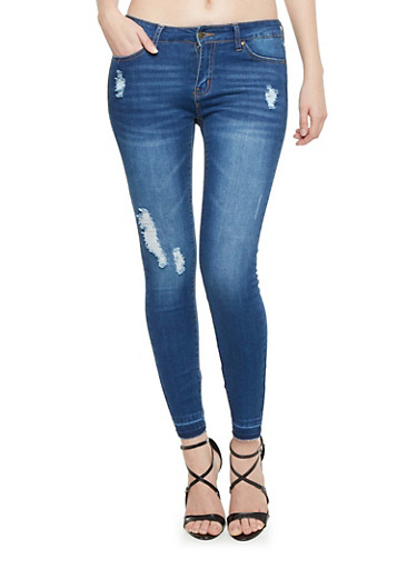 WAX Distressed Skinny Jeans with Released Hem,MEDIUM WASH,large