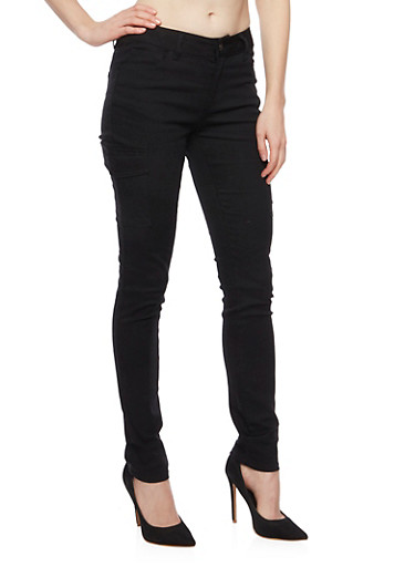 WAX Cargo Skinny Jeans,BLACK,large