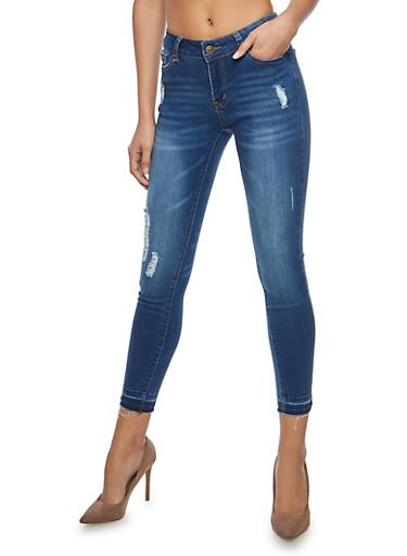 WAX Raw Hem Skinny Jeans,MEDIUM WASH,large