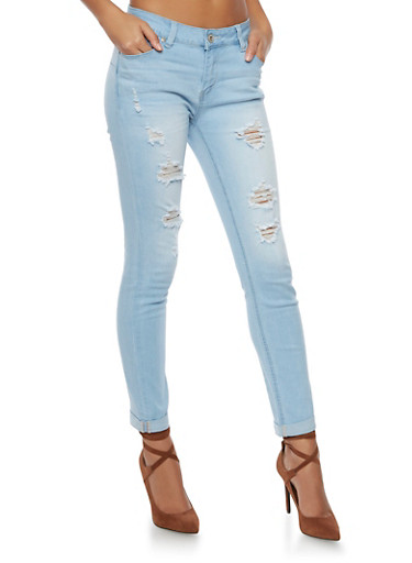 WAX Cuffed Skinny Jeans with Distressing,LIGHT WASH,large