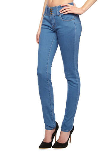 WAX Jeans Three-Button Mid-Rise Skinny Jeans