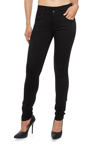 Wax High Waisted Skinny Jeans,BLACK,large