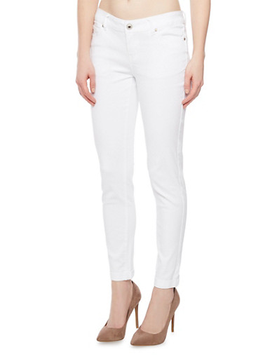 WAX Dyed Skinny Jeans with Rolled Cuffs,WHITE,large